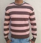 MENS KNITTED STRIPED RETRO VINTAGE JUMPER TOP GOLF SWEATER BROWN/PINK