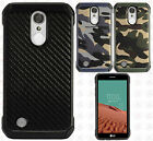 For LG Rebel 2 L57BL Rubber IMPACT TRI HYBRID Case Skin Cover +Screen Guard
