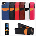 Classic Faux Leather Card Holder + Stand TPU Case Back Cover For iPhone Samsung