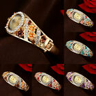 Hot Variety Women Retro Colorful Flowers Crystal Oval Quartz Analog WWristwatch
