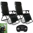 2X Outdoor Folding Zero Gravity Chair Lounge Beach Patio Recliner Drink Holder