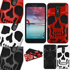 For ZTE ZMAX PRO SKULL Hard Hybrid Dual Layer Soft Rubber Case Phone Cover