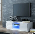 TV Stand Gloss Fronts Cabinet LED White Black Walnut Glass Shelf 2 Cupboards