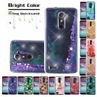 ZTE PHONE MODELS BLING HYBRID LIQUID GLITTER SLIM RUBBER PROTECTOR CASE COVER