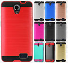 For ZTE ZFIVE 2 Premium Brushed Metal HYBRID Rubber Case Snap Phone Cover