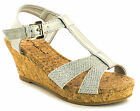 New Girls/Childrens Silver Metallic T-Bar Fashion Wedge Sandals UK SIZES