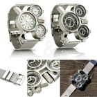 Men's Quartz Wrist Watch Stainless-steel Metal Mesh Strap Multi Time Zone Analog image