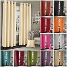 Luxury Ringtop Faux Silk Curtain Pair Ready Made Fully Lined All Sizes & Colors