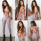 UK Sexy Womens Tie Neck Floral Blouse Summer Top T-Shirt Beach Tops Blouses