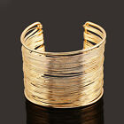FASHION WOMEN MULTILAYER METAL WIRES STRINGS OPEN BANGLE WIDE CUFF BRACELET ACTU