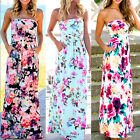 Women's Summer Vintage Boho Long Maxi Evening Party Beach Dress Floral Sundress