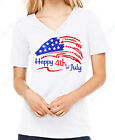 "Women's Glitter Shirt  "" Happy 4th of July w/ American Flag "" - Patriotic"