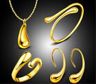 New 1 Set 18k Gold Plated Earrinngs Wedding Necklace Ring bracelet Engagement