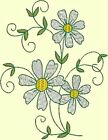 DAISY FLOWER EMBROIDERY & REDWORK In 2 Sizes -Anemone Machine Embroidery Singles