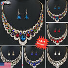 Charm Womens Mixed Style Bohemia color Bib Chain Necklace Earrings Jewelry US