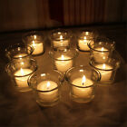 2-12X Clear Glass Votive Pillar Candle Tea Light Holder Wedding Party Decoration