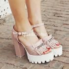 womens tassel chain open toe block high heel platform ankle strap sandals shoes