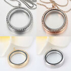 DIY Living Memory Floating Charm Crystal Glass Round Locket Pendant Necklace New