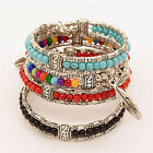 Tibetan Silver Feather Bangle Women Gypsy Turquoise Vintage Bohemian Bracelet