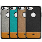 For iPhone 7 & iPhone 8 - CANVAS FABRIC Leather Hard TPU Rubber Gummy Case Cover