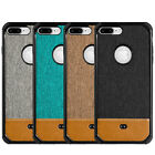 for iPhone 7+ / 8+ Plus - CANVAS FABRIC Leather Hard TPU Rubber Case Cover