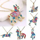 Colorful Rainbow Printing Butterfly Dog Cat Pendant Necklace Women Lady Jewelry