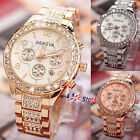 Women Luxury Crystal Gold Stainless Steel Band Date Analog Quartz Wrist Watch US image