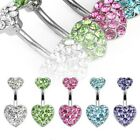 CLOSEOUT! Surgical Stainless Steel Blue Crystal Heart Navel Ring
