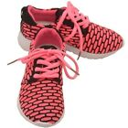 Little Girls Black Fuchsia Pattern Lace Up Flexible Sole Sneakers 9-10 Toddler