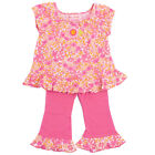 Baby Lulu Little Girls Pink Floral Print Ruffle Cotton 2 Pcs Outfit Set 2-4T