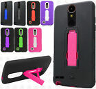 For LG Harmony IMPACT Hard Protector Rubber Case Phone Cover Kickstand Accessory