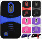 For LG Harmony M257 Hard Gel Rubber KICKSTAND Case Phone Cover +Screen Protector