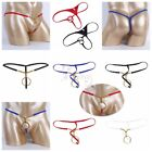 Men Lingerie O-rings Beads/Hole Loop Open Butt G-string Bikini Underwear Shorts