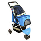 New Pet Stroller Outdoor Walking Small Dog & Cat Carrier 3 Wheels Folding Cart