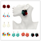 Women Cute Pom Pom Cluster Drop Earrings Hoop Ball Dangling Rhinestone Studed