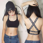 Women Sexy Capital Letters Crossing Back Strappy Sports Bra Crop Top Vest Hot