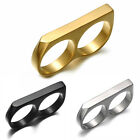 Two Fingers Double Ring Stainless Steel Men's Hip Hop Style Ring 8,9,10,11,12