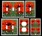 BRIGHT POPPY FLORAL LIGHT SWITCH COVER PLATE
