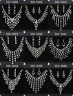 CHOOSE 8Style Hot Grid 1SET Bridal Drag Queen Clear Rhinestone Necklace Earrings