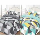 SHAPES GEOMETRIC DUVET COVER SETS BLUE & BLACK - SINGLE, DOUBLE, KING SIZE