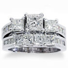 3 1/2ct Princess Cut Diamond Engagement Ring Wedding Band 3-Stone Set White Gold