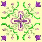 Anemone Quilt Squares 1- DESIGN 8- Anemone Machine Embroidery Singles In 4 Sizes
