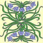 Anemone Quilt Squares 3- DESIGN 5- Anemone Machine Embroidery Singles In 4 Sizes