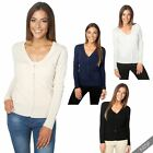 Women Ladies Thin Knit Two Pocket Basic Button Down Cardigan V Neck Sweater Work