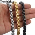 Square Box Link Bracelet 13mm Mens Chain Stainless Steel Gold Silver Black Tone