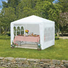 Party Tent Gazebo Marquee Garden Canopy Outdoor White PE Sizes 3m/6m Steel Poles
