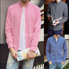Fashion Mens Long Sleeve Casual Check Plaid Shirt Grid Printed Dress Shirt M-5XL