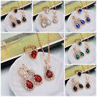 Women Long Waterdrop Crystal Hook Dangle Necklace Pendant Earrings Jewelry Sets