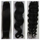 "USPS 15""-36"" Real Soft Weft Human Hair Extensions Straight Wavy #2 Darkest Brown"