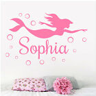 Personalised Mermaid Wall Stickers Girls Bedroom Sticker Quote Decal Vinyl